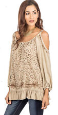 SACRED THREADS sand embroidery stonewashd rayon peekaboo cold shoulder TOP L XL