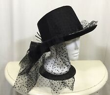 Halloween Spider Top Hat Black Gothic Asymmetrical Costume Cosplay Polka Dot Bow
