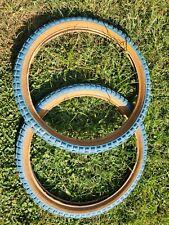 BLUE VINTAGE BMX KNOBBY TIRES GHENG SHIN 20 X 2.125 70S 80S