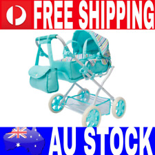 Girls Pretend Doll Pram Stroller Deluxe Adjustable Seat Baby Carrier & Bag Set