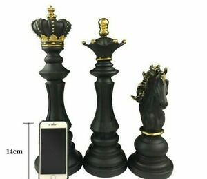 Large Solid Chess Figurine Retro  Home Decoration Black King Horse Queen Statue