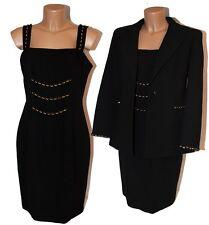 Tailleur completo giacca vestito donna 46 nero abito