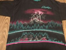 Vintage 1991 Alaska Lightning Striking Mountain Top Medium T Shirt