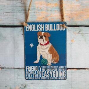 English Bulldog Mini Metal Hanging Dog Sign Pet Lovers Wall Decoration