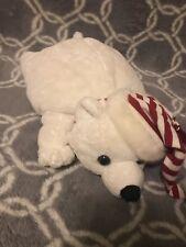 "Aurora polar bear bean bag plush toy pillow striped hat and scarf 12"" (145)"