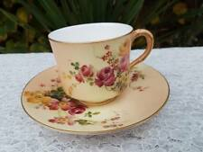 Royal Worcester  hand painted floral cup & saucer c.1907