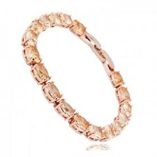 GORGEOUS 18K ROSE GOLD PLATED & GENUINE TOPAZ CUBIC ZIRCONIA TENNIS BRACELET