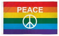 3x5 Rainbow Peace Sign Poly Flag Banner Brass Grommets