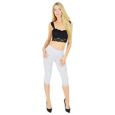 Womens Cropped Cotton Leggings With Lace 3/4 Length V1 Light Grey 6