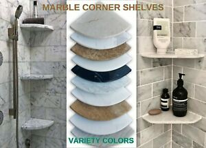 "Premium Marble Corner Shelf for Shower & Bathroom - Stone Caddy - 8"" Soap Dish"