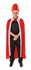 Mens King's Robe Hat Costume for Fairytale Royal Fancy Dress Outfit Adult