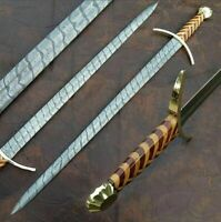 New Custom Handmade Damascus Steel 36inches Sword With Multi Wood Handle