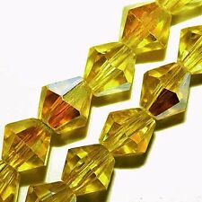 FACETED GLASS BICONE JEWELRY BEADS BRIGHT YELLOW AB COLOR 6MM STRANDS GB10AB