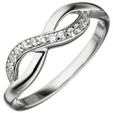 Ring Damenring Unendlichkeit 8 Acht Zeichen Zirkonia weiß 925 Silber Fingerring