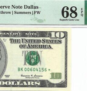 "1999 $10 DALLAS "" STAR "" ⭐️  FRN, PMG SUPERB GEM UNCIRCULATED 68 EPQ BANKNOTE"