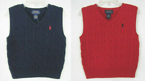 NEW Polo Ralph Lauren Boy's Vest Cable Knit Sizes 2/2T, 3/3T, 4/4T