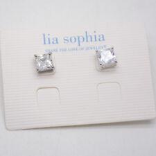 lia sophia women jewelry silver CZ cut crystal square stud earrings for women