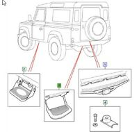 LAND ROVER GENUINE STEP ASSEMBLY REAR , Defender (L316) -2007 -STC7632