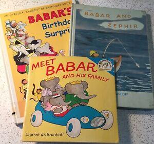Babar Books Lot of 3 Vintage Jean Laurent De Brunhoff Zephir Birthday Surprise