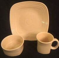 Fiesta  Ivory 3 Pc Square Place Setting Fiestaware Plate Mug Bowl 1st Quality