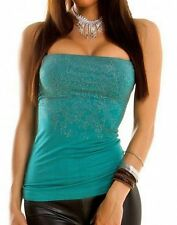Sexy Miss Ladies Glamour Bandeau Tube Top Studs 34/36/38 Turquoise