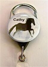 CARABINER ID BADGE HOLDER, RETRACTABLE REEL, KEYS, HORSE BEAUTY,VET,TEACHER,DR.
