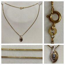 Collar 333 ORO CON COLGANTE BICOLOR ZAFIRO Cadena de Oro Joya De Oro Collar 40cm