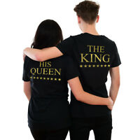 King Queen His Her Funny Cute Romance Gift T-Shirt Wedding Valentines Couples UK