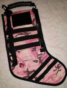 Pink Camo Ruck Sack Tactical Christmas Stocking MOLLE Survivor Black Zippers