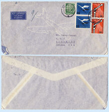 Germany 1955 #733 C83 Commercial Airmail Cover to Indiana USA - Scarce