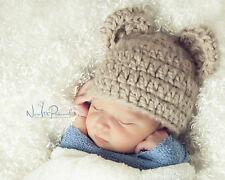 Hand Crochet Knitted Baby Hat Teddy Bear Chunky Photo Prop Boy Blue Newborn-12M