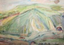 Vintage impressionist mountain landscape watercolor painting