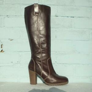 Boden Leather Boots Size Uk 5 Eur 38 Womens Ladies Shoes Pull on Brown Boots