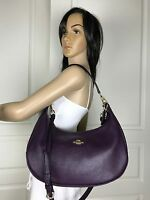 NEW COACH SEXY PURPLE PEBBLED LEATHER SHOULDER CROSSBODY HOBO BAG PURSE HANDBAG