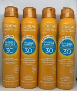 4 X L'Oreal Advanced Suncare Invisible Protect Clear Finish Spray SPF 30 4.5 OZ