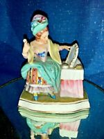 Vintage Boudoir Victorian Powder Puff Mirror French Provincial Figurine ❤️sj3j