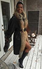 Designer Full length Black leather & Island fox Fur Coat jacket Stroller M 2-10