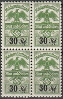 Stamp Germany Revenue Block WW2 3rd Reich War War Era Tax Duty 030 MNH