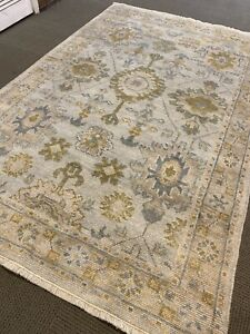 Gray  Oushak Area Rug 6' X 9' Wool Hand Made / Knotted  New Woven rare A+ fine