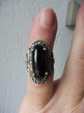 schöner ,alter Ring__925 Silber__mit Onyx und Markasit___!