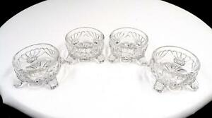 """CAMBRIDGE #300 CAPRICE CLEAR FOUR PIECE 2"""" FOOTED ALMOND DISHES 1936 - 1958"""