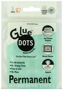 """Glue Dots Clear Double Sided Adhesives Permanent 1/2"""" 60 Count Bonds Instantly"""