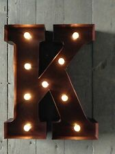 LED LIGHT CARNIVAL CIRCUS  RUST  METAL LETTER  K - WALL OR FREE STANDING 13INCH