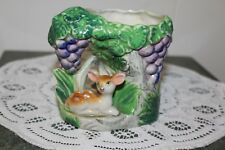 Vintage.Ceramic.Fawn, Lying In A Grape Vine.Planter