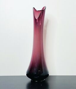 "Mid Century LE Smith SIMPLICITY Purple Swung Glass Stretch 21"" FLOOR VASE NR"
