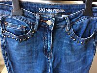 "NEXT Blue Skinny Fit Jeans Denim Size UK 8 Long L31"" Trousers Slim Stud Detail"