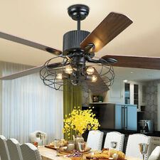 Industrial Ceiling Fan 52 Inch Rustic Edison With Cage Light W/ Remote Control