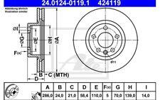 ATE Juego de 2 discos freno 286mm ventilado para OPEL OMEGA VAUX 24.0124-0119.1