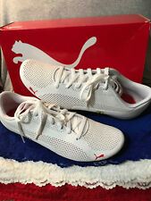 New Mens Puma White Leather Ferrari Drift Cat 5 Ultra Sport Athletic Tie Shoes