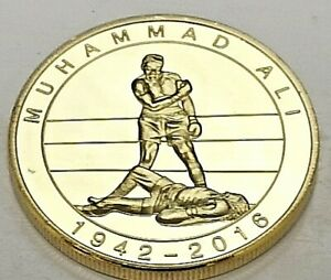Muhammad Ali Gold 3D Coin Rope a Dope Sport Hall of Fame Knock Out Punch Retro
